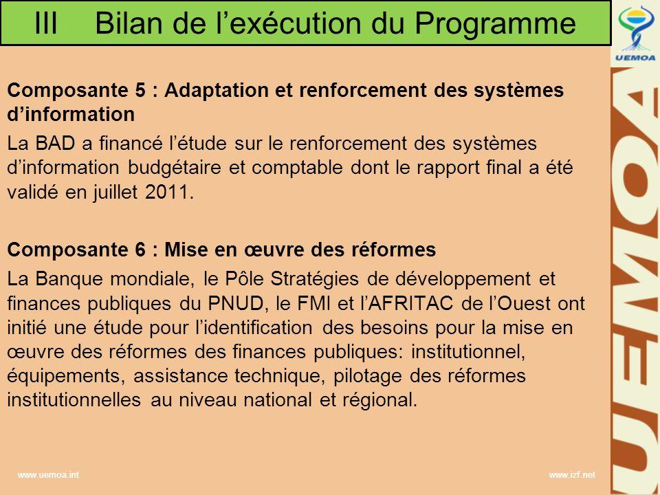 www.uemoa.int www.izf.net Composante 5 : Adaptation et renforcement des systèmes dinformation La BAD a financé létude sur le renforcement des systèmes dinformation budgétaire et comptable dont le rapport final a été validé en juillet 2011.