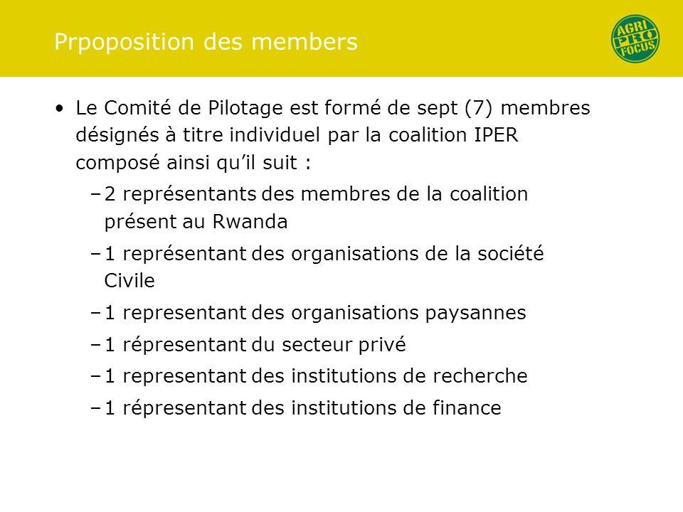 Prpoposition des members Le Comité de Pilotage est formé de sept (7) membres désignés à titre individuel par la coalition IPER composé ainsi quil suit