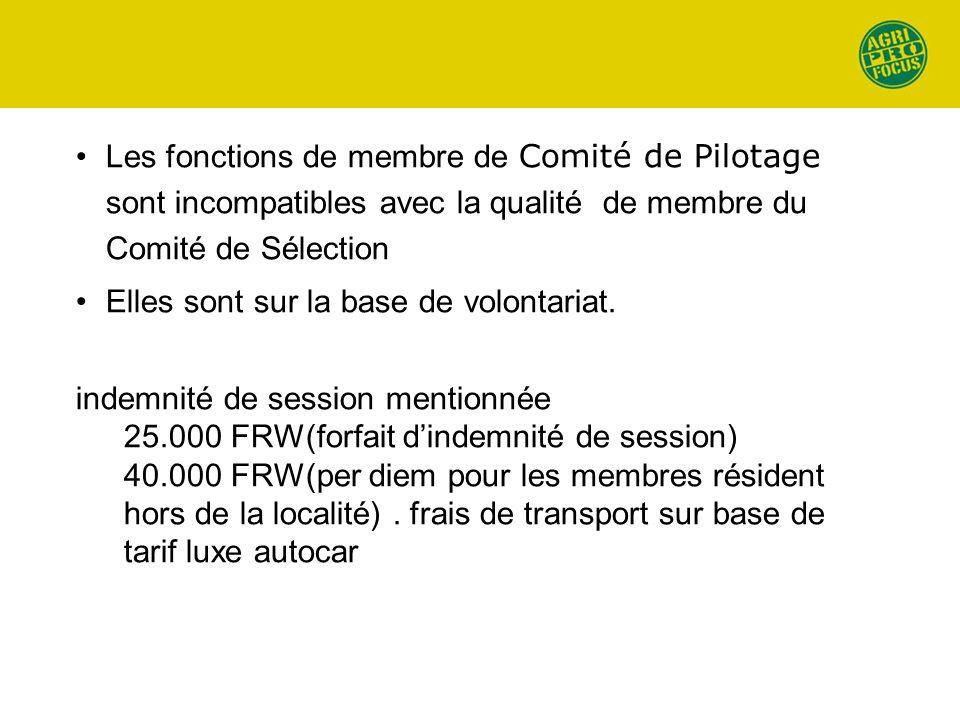 Les fonctions de membre de Comité de Pilotage sont incompatibles avec la qualité de membre du Comité de Sélection Elles sont sur la base de volontariat.