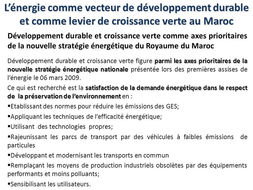 Lénergie comme vecteur de développement durable et comme levier de croissance verte au Maroc Développement durable et croissance verte comme axes prio