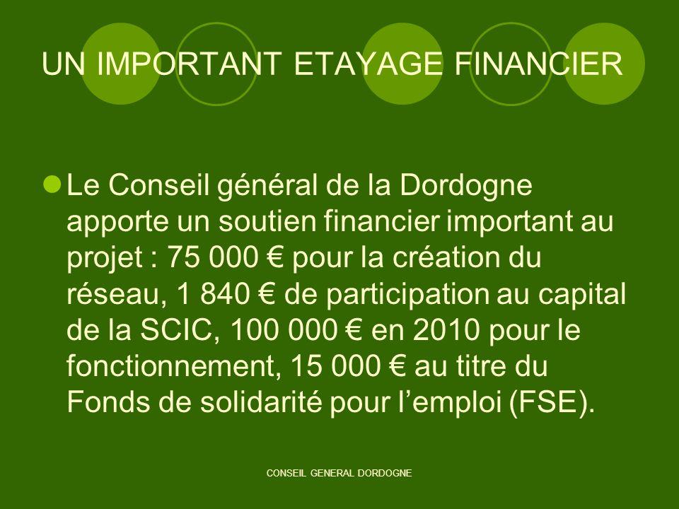 CONSEIL GENERAL DORDOGNE UN IMPORTANT ETAYAGE FINANCIER Le Conseil général de la Dordogne apporte un soutien financier important au projet : 75 000 po