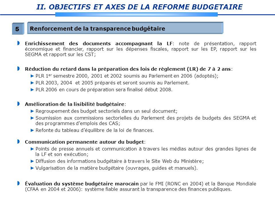 II. OBJECTIFS ET AXES DE LA REFORME BUDGETAIRE Enrichissement des documents accompagnant la LF: note de présentation, rapport économique et financier,