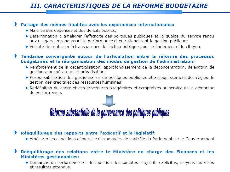 III. CARACTERISTIQUES DE LA REFORME BUDGETAIRE Partage des mêmes finalités avec les expériences internationales: Maîtrise des dépenses et des déficits