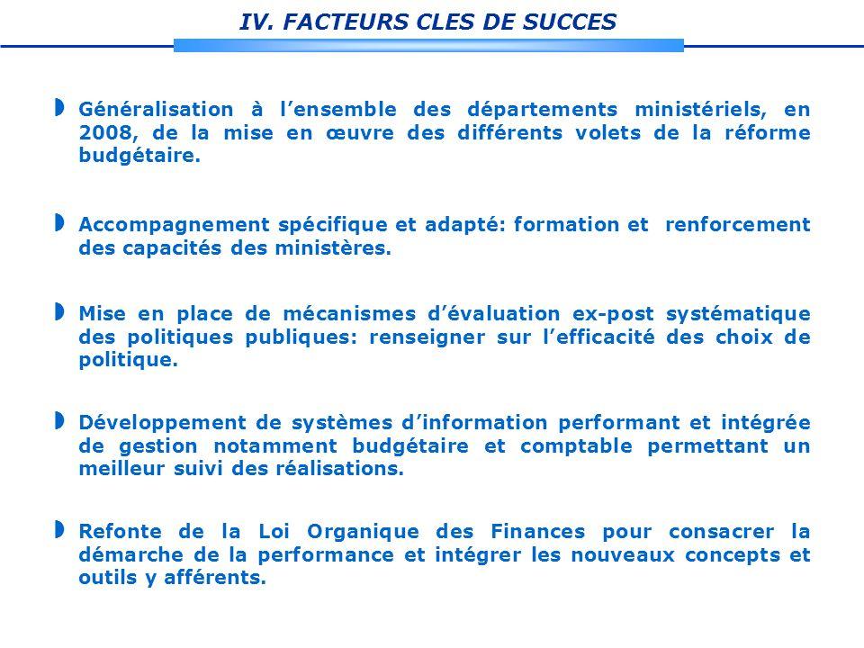 IV. FACTEURS CLES DE SUCCES Généralisation à lensemble des départements ministériels, en 2008, de la mise en œuvre des différents volets de la réforme