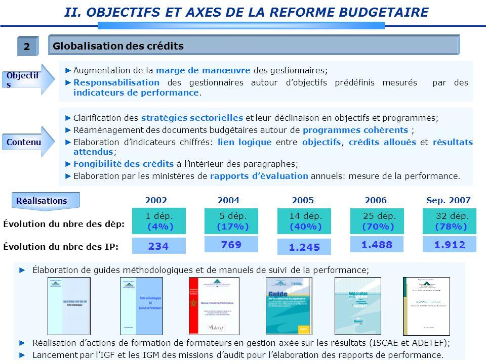 II. OBJECTIFS ET AXES DE LA REFORME BUDGETAIRE Globalisation des crédits 2 Objectif s Contenu Clarification des stratégies sectorielles et leur déclin