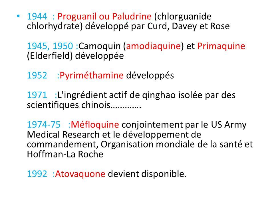 1944 : Proguanil ou Paludrine (chlorguanide chlorhydrate) développé par Curd, Davey et Rose 1945, 1950 :Camoquin (amodiaquine) et Primaquine (Elderfie