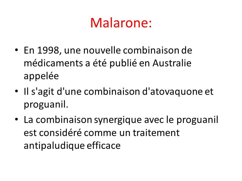 Malarone: En 1998, une nouvelle combinaison de médicaments a été publié en Australie appelée Il s'agit d'une combinaison d'atovaquone et proguanil. La