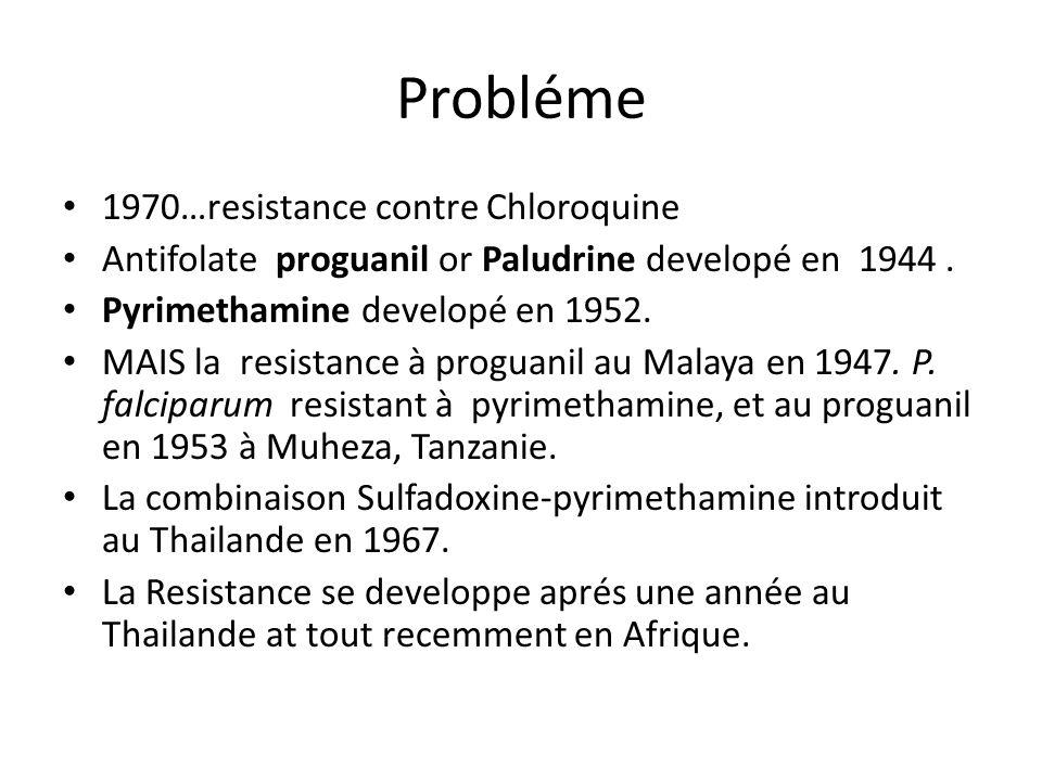 Probléme 1970…resistance contre Chloroquine Antifolate proguanil or Paludrine developé en 1944. Pyrimethamine developé en 1952. MAIS la resistance à p