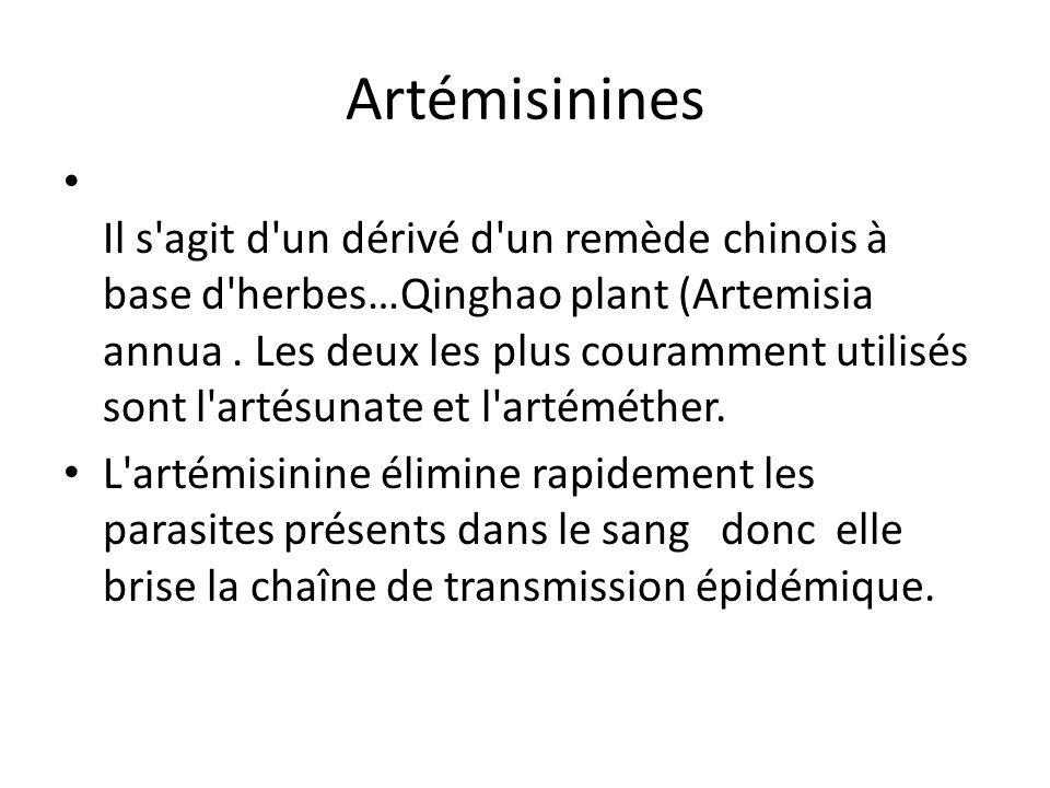 Artémisinines Il s'agit d'un dérivé d'un remède chinois à base d'herbes…Qinghao plant (Artemisia annua. Les deux les plus couramment utilisés sont l'a