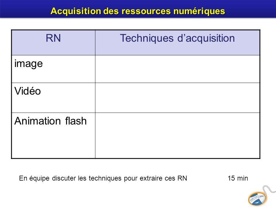 RNTechniques dacquisition image Vidéo Animation flash En équipe discuter les techniques pour extraire ces RN 15 min Acquisition des ressources numériques