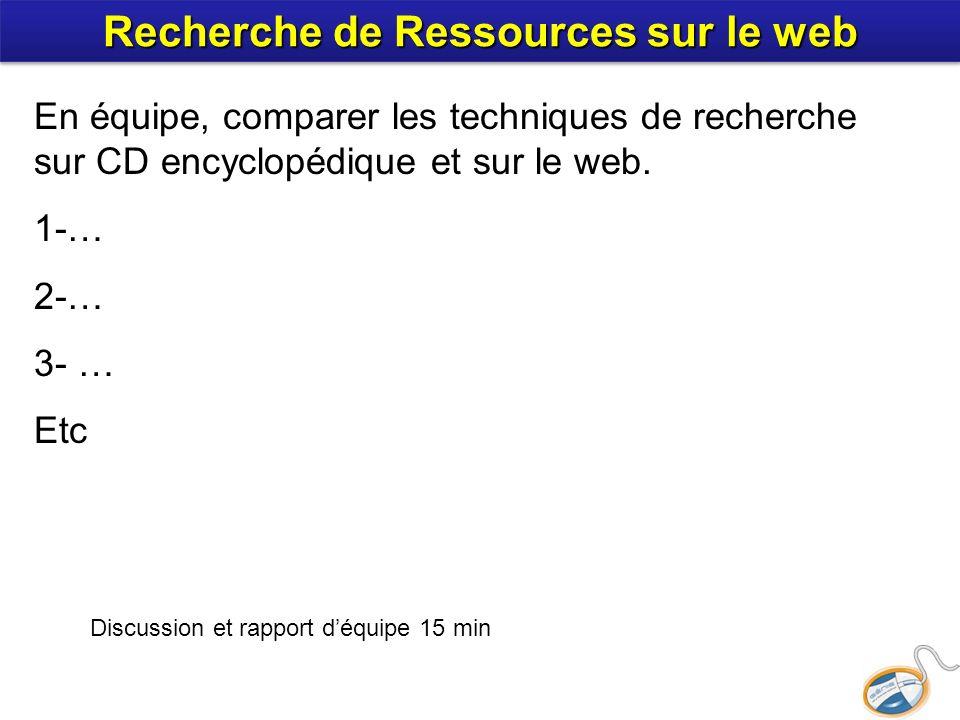 En équipe, comparer les techniques de recherche sur CD encyclopédique et sur le web. 1-… 2-… 3- … Etc Discussion et rapport déquipe 15 min Recherche d