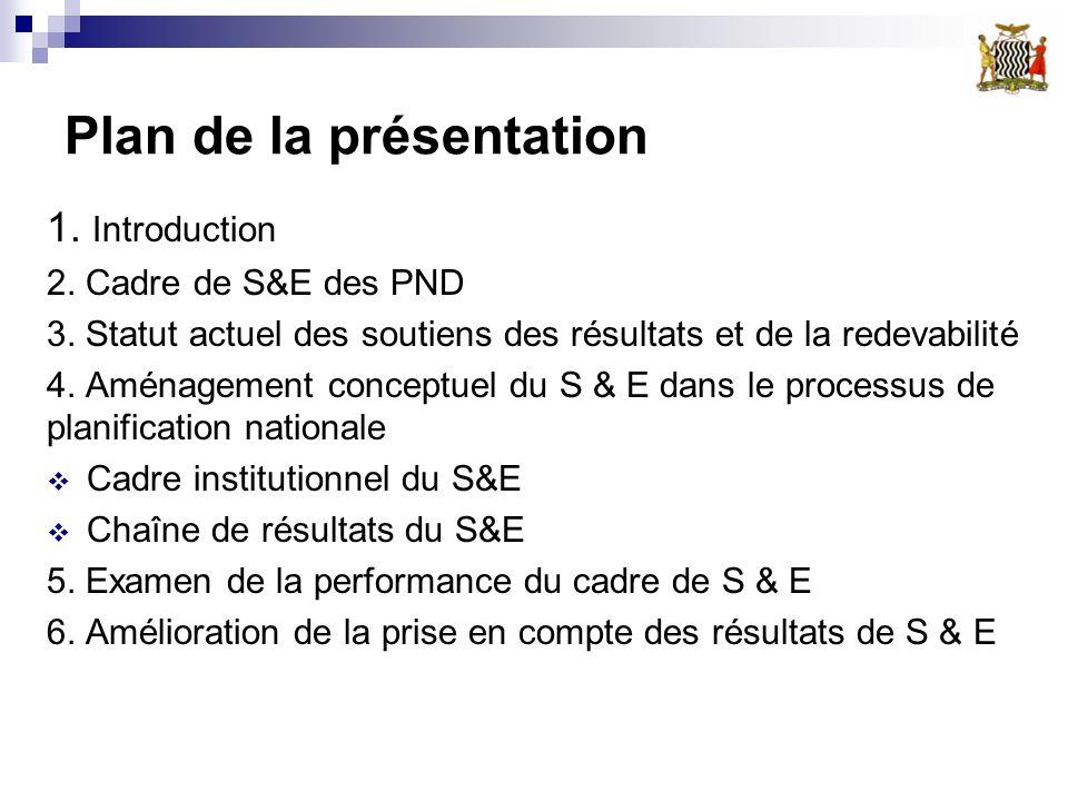 Plan de la présentation 1. Introduction 2. Cadre de S&E des PND 3. Statut actuel des soutiens des résultats et de la redevabilité 4. Aménagement conce
