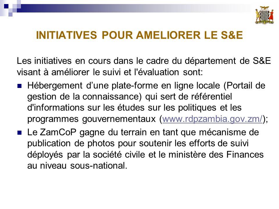 INITIATIVES POUR AMELIORER LE S&E Les initiatives en cours dans le cadre du département de S&E visant à améliorer le suivi et l évaluation sont: Hébergement dune plate-forme en ligne locale (Portail de gestion de la connaissance) qui sert de référentiel d informations sur les études sur les politiques et les programmes gouvernementaux (www.rdpzambia.gov.zm/);www.rdpzambia.gov.zm/ Le ZamCoP gagne du terrain en tant que mécanisme de publication de photos pour soutenir les efforts de suivi déployés par la société civile et le ministère des Finances au niveau sous-national.