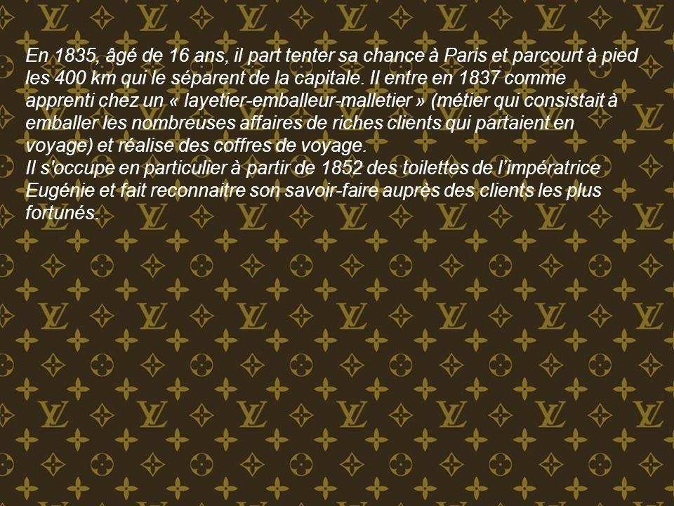 En 1854, il fonde la marque Louis Vuitton et ouvre son premier magasin rue Neuve-des-Capucines à Paris à proximité de la Place Vendôme.