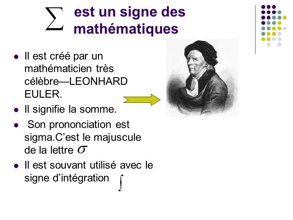 est un signe des mathématiques Il est créé par un mathématicien très célèbreLEONHARD EULER. Il signifie la somme. Son prononciation est sigma.Cest le