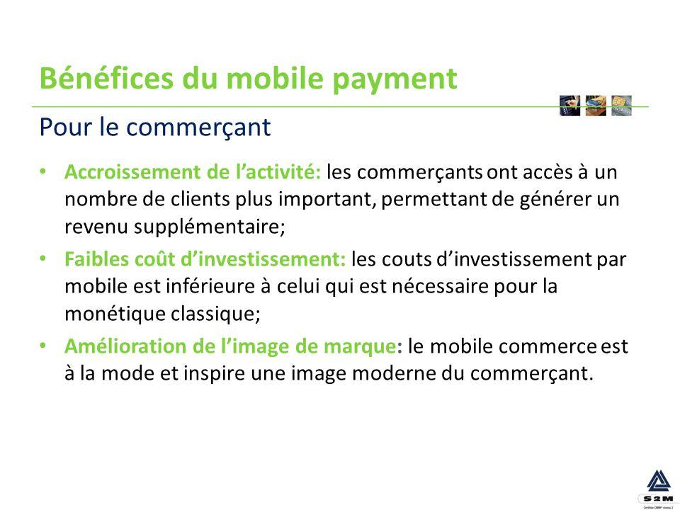 Bénéfices du mobile payment Accroissement de lactivité: les commerçants ont accès à un nombre de clients plus important, permettant de générer un reve
