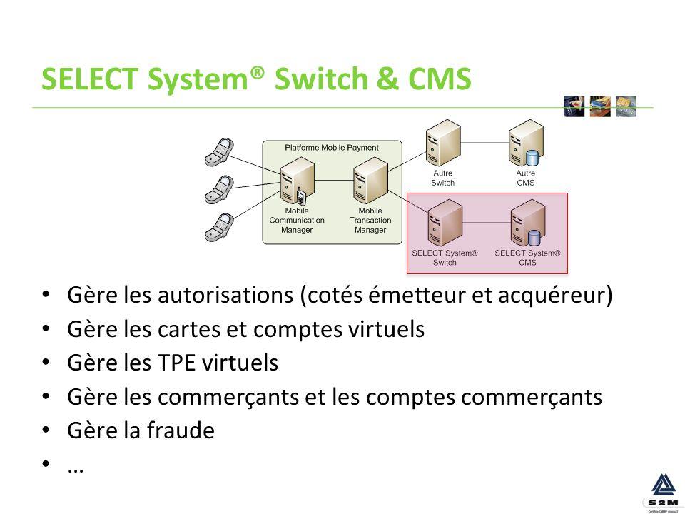 SELECT System® Switch & CMS Gère les autorisations (cotés émetteur et acquéreur) Gère les cartes et comptes virtuels Gère les TPE virtuels Gère les co