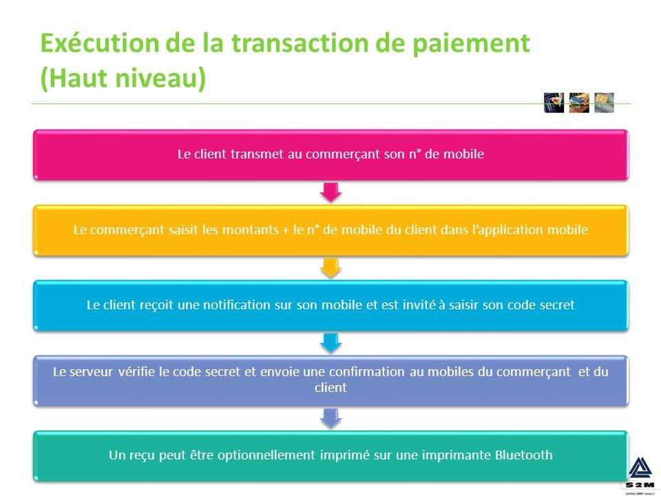 Exécution de la transaction de paiement (Haut niveau) Le client transmet au commerçant son n° de mobileLe commerçant saisit les montants + le n° de mo