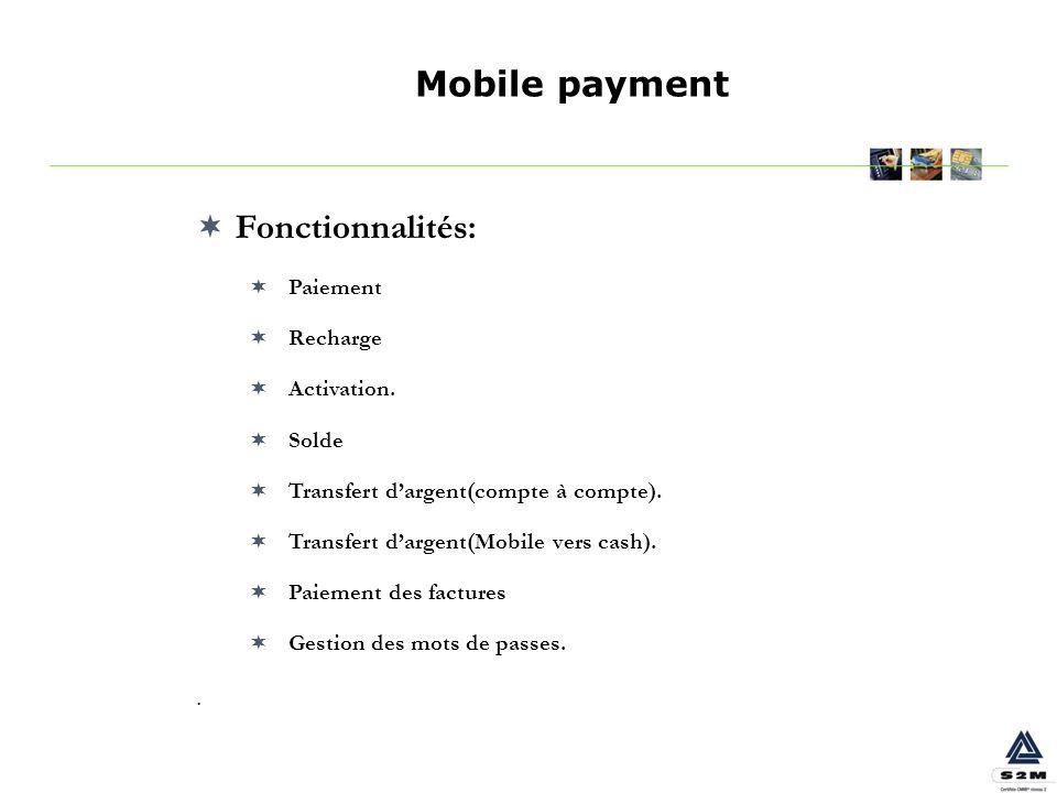 Fonctionnalités: Paiement Recharge Activation. Solde Transfert dargent(compte à compte). Transfert dargent(Mobile vers cash). Paiement des factures Ge