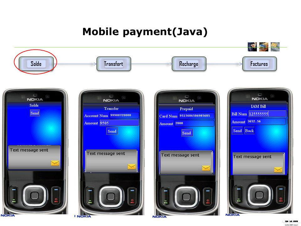 Mobile payment(Java) Solde Transfert Factures Recharge