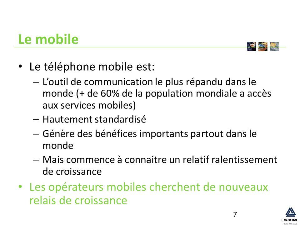Le mobile Le téléphone mobile est: – Loutil de communication le plus répandu dans le monde (+ de 60% de la population mondiale a accès aux services mo