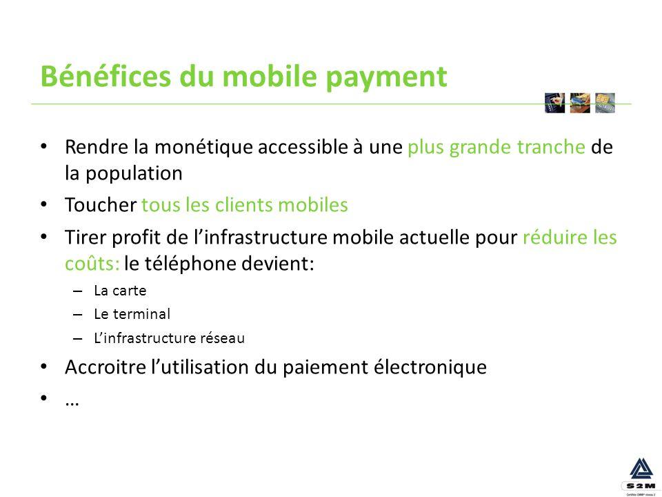 Bénéfices du mobile payment Rendre la monétique accessible à une plus grande tranche de la population Toucher tous les clients mobiles Tirer profit de