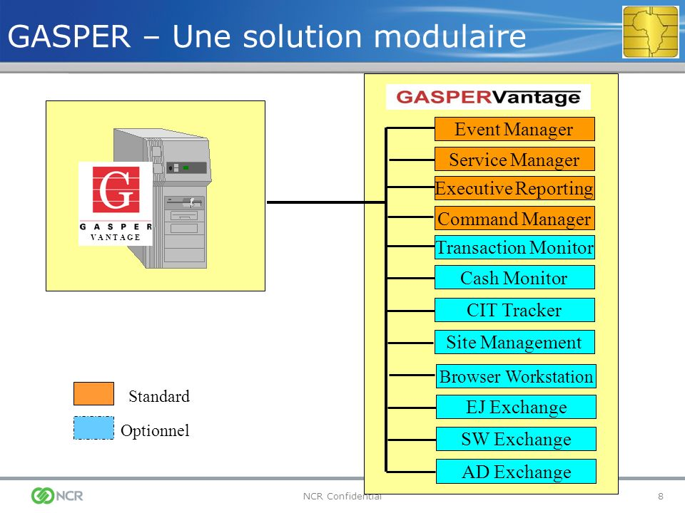 8NCR Confidential GASPER – Une solution modulaire Standard Optionnel Event Manager V A N T A G E Service Manager Executive Reporting Command Manager Cash Monitor CIT Tracker EJ Exchange SW Exchange AD Exchange Browser Workstation Site Management Transaction Monitor