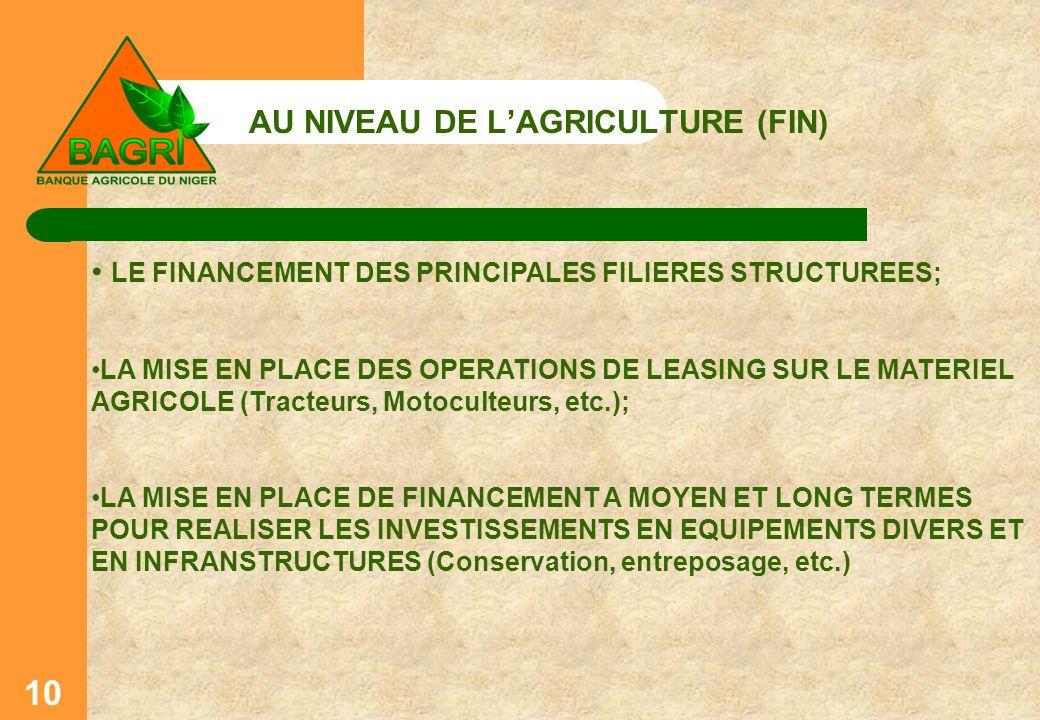AU NIVEAU DE LAGRICULTURE (FIN) 10 LE FINANCEMENT DES PRINCIPALES FILIERES STRUCTUREES; LA MISE EN PLACE DES OPERATIONS DE LEASING SUR LE MATERIEL AGR