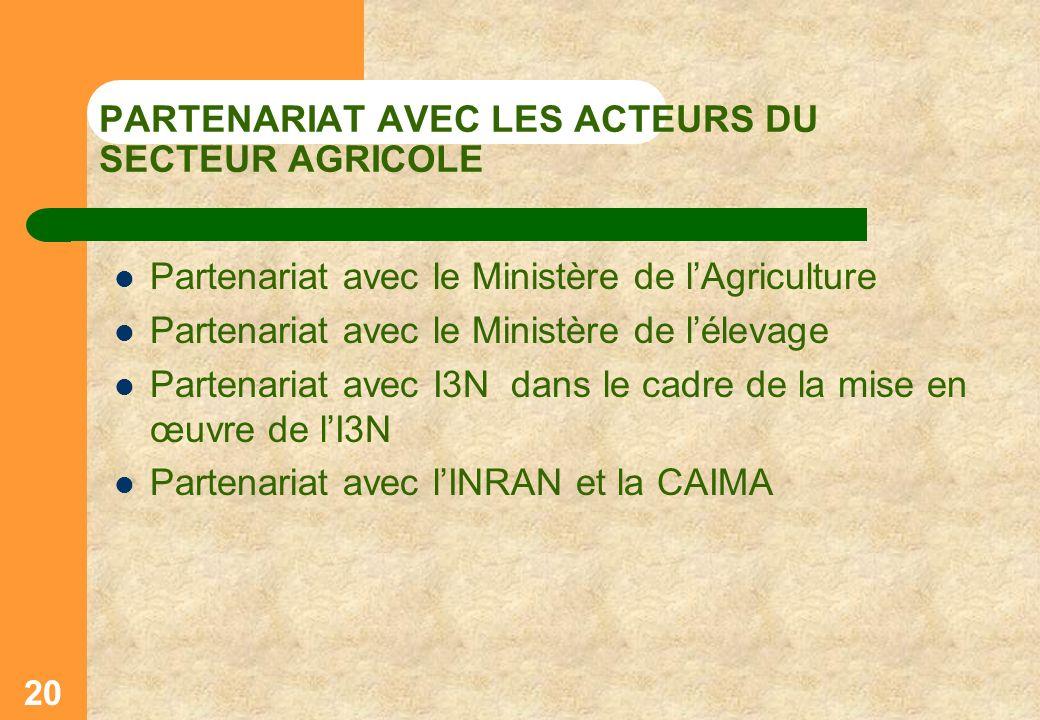 PARTENARIAT AVEC LES ACTEURS DU SECTEUR AGRICOLE Partenariat avec le Ministère de lAgriculture Partenariat avec le Ministère de lélevage Partenariat a