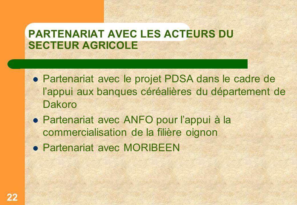 PARTENARIAT AVEC LES ACTEURS DU SECTEUR AGRICOLE Partenariat avec le projet PDSA dans le cadre de lappui aux banques céréalières du département de Dak