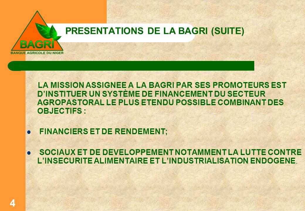 PRESENTATIONS DE LA BAGRI (SUITE) LA MISSION ASSIGNEE A LA BAGRI PAR SES PROMOTEURS EST DINSTITUER UN SYSTÈME DE FINANCEMENT DU SECTEUR AGROPASTORAL L