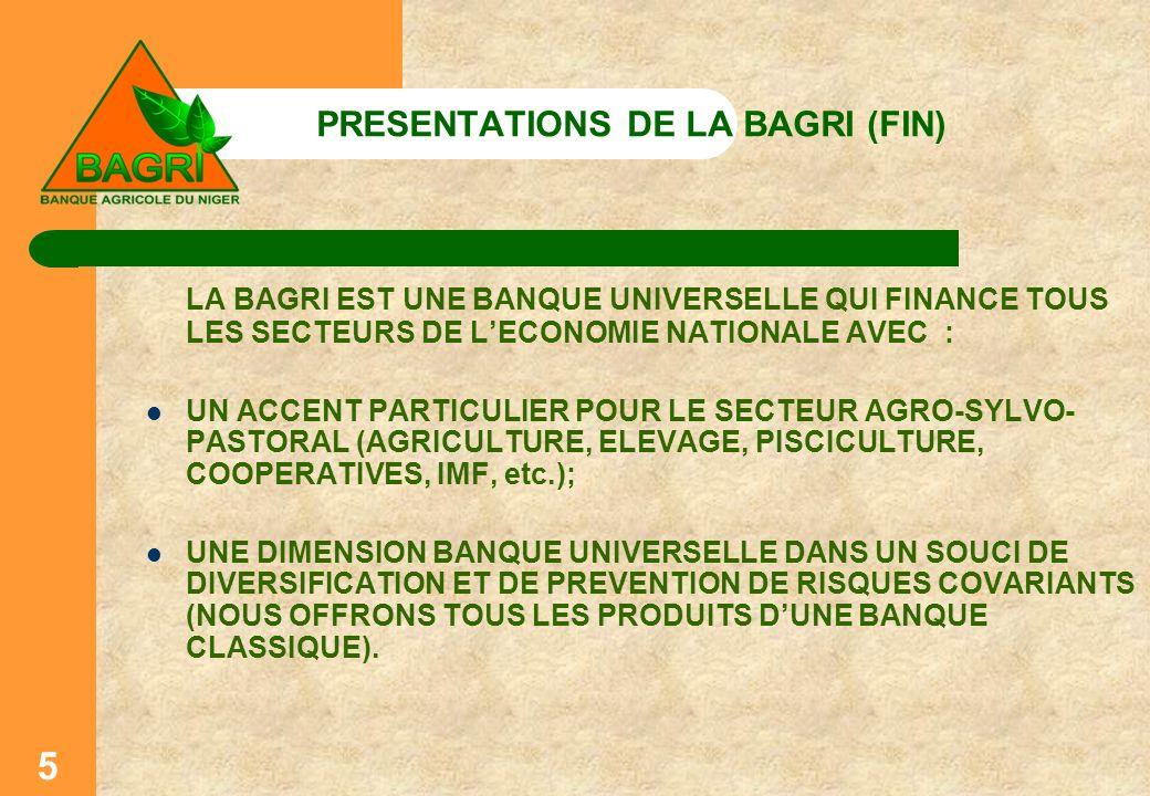 5 PRESENTATIONS DE LA BAGRI (FIN) LA BAGRI EST UNE BANQUE UNIVERSELLE QUI FINANCE TOUS LES SECTEURS DE LECONOMIE NATIONALE AVEC : UN ACCENT PARTICULIE