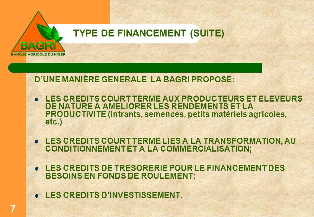 TYPE DE FINANCEMENT (SUITE) DUNE MANIÈRE GENERALE LA BAGRI PROPOSE: LES CREDITS COURT TERME AUX PRODUCTEURS ET ELEVEURS DE NATURE A AMELIORER LES REND