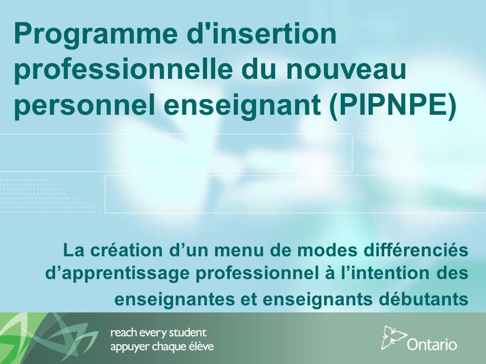 Programme d insertion professionnelle du nouveau personnel enseignant (PIPNPE) La création dun menu de modes différenciés dapprentissage professionnel à lintention des enseignantes et enseignants débutants