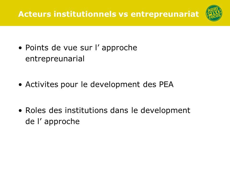 Acteurs institutionnels vs entrepreunariat Points de vue sur l approche entrepreunarial Activites pour le development des PEA Roles des institutions dans le development de l approche
