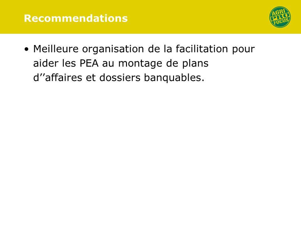 Recommendations Meilleure organisation de la facilitation pour aider les PEA au montage de plans daffaires et dossiers banquables.