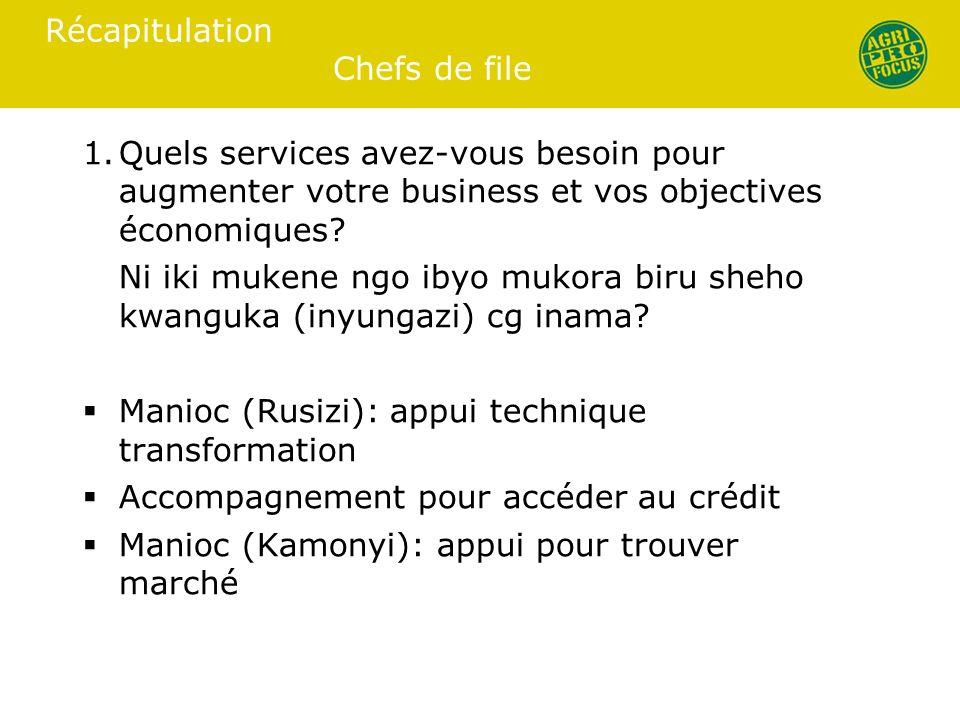 Récapitulation Chefs de file 1.Quels services avez-vous besoin pour augmenter votre business et vos objectives économiques.