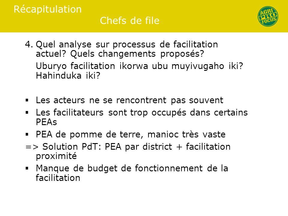 Récapitulation Chefs de file 4.Quel analyse sur processus de facilitation actuel.