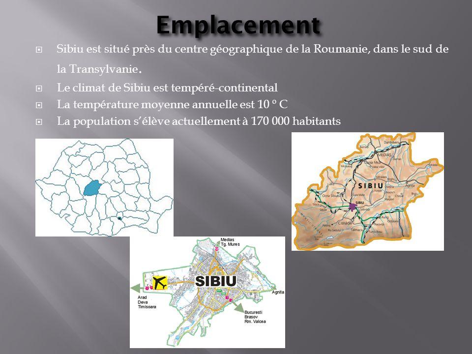 Emplacement Sibiu est situé près du centre géographique de la Roumanie, dans le sud de la Transylvanie. Le climat de Sibiu est tempéré-continental La