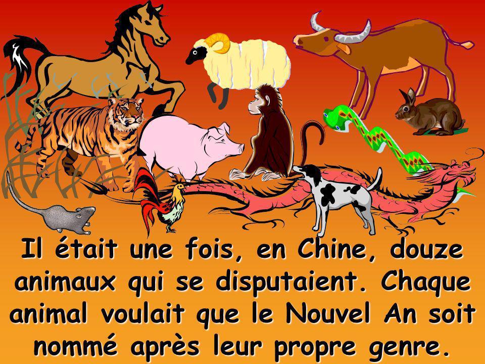 Il était une fois, en Chine, douze animaux qui se disputaient. Chaque animal voulait que le Nouvel An soit nommé après leur propre genre.