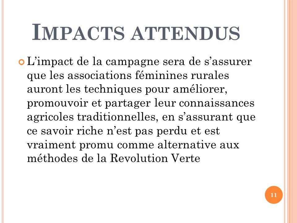 I MPACTS ATTENDUS Limpact de la campagne sera de sassurer que les associations féminines rurales auront les techniques pour améliorer, promouvoir et p
