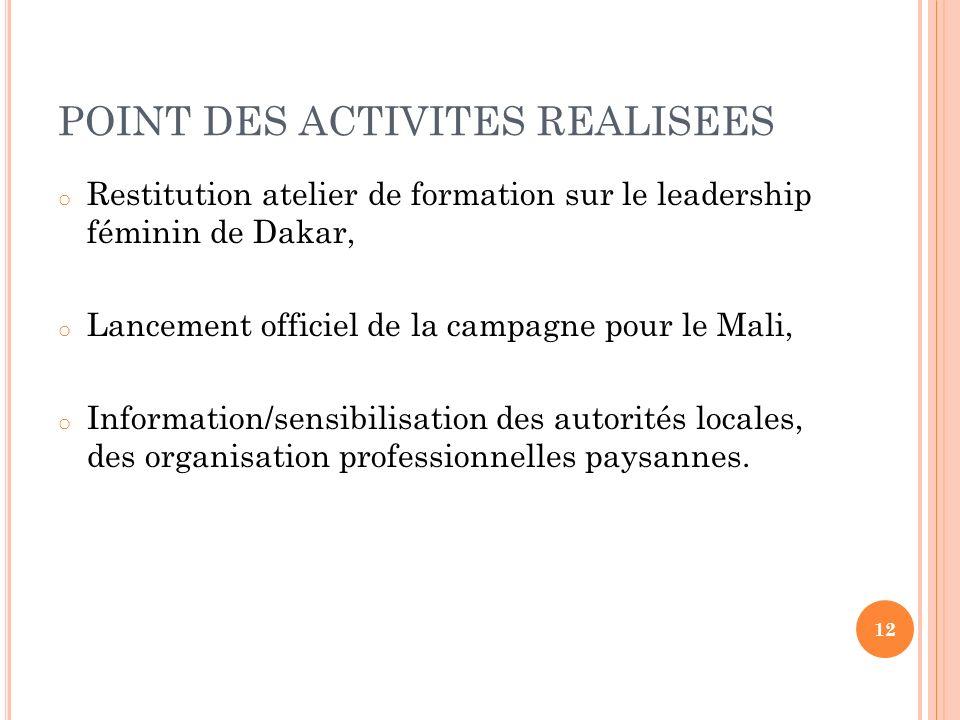 POINT DES ACTIVITES REALISEES o Restitution atelier de formation sur le leadership féminin de Dakar, o Lancement officiel de la campagne pour le Mali,