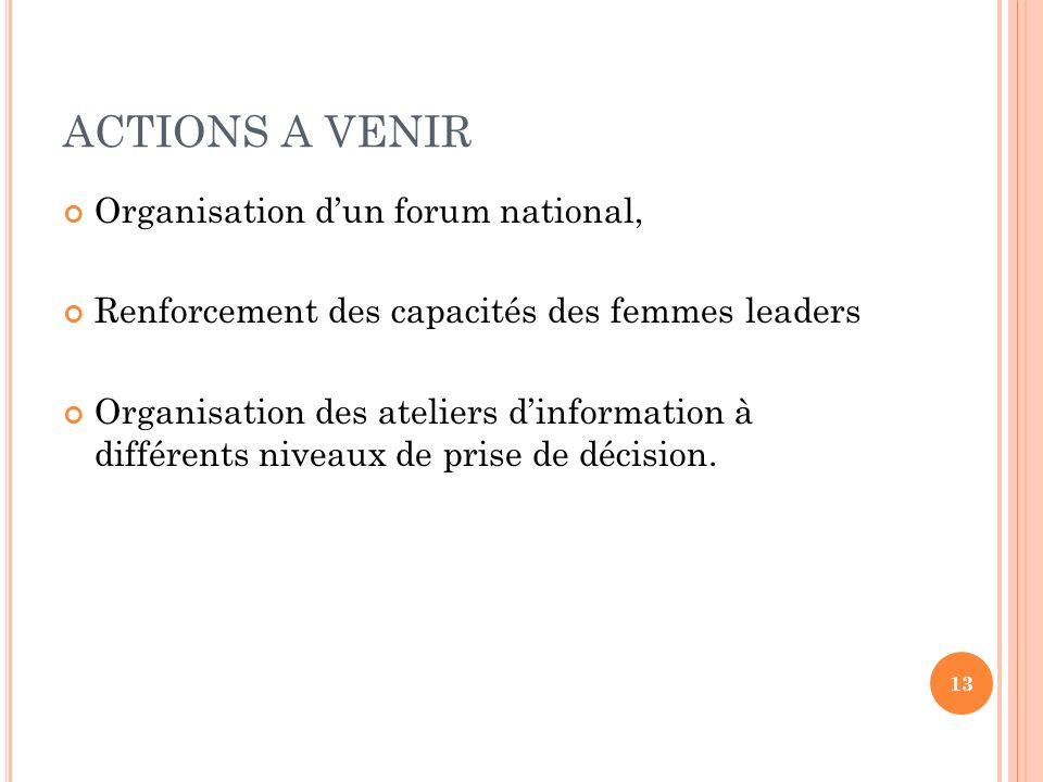 ACTIONS A VENIR Organisation dun forum national, Renforcement des capacités des femmes leaders Organisation des ateliers dinformation à différents niv