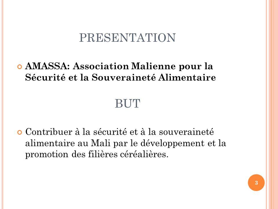 PRESENTATION AMASSA: Association Malienne pour la Sécurité et la Souveraineté Alimentaire BUT Contribuer à la sécurité et à la souveraineté alimentair