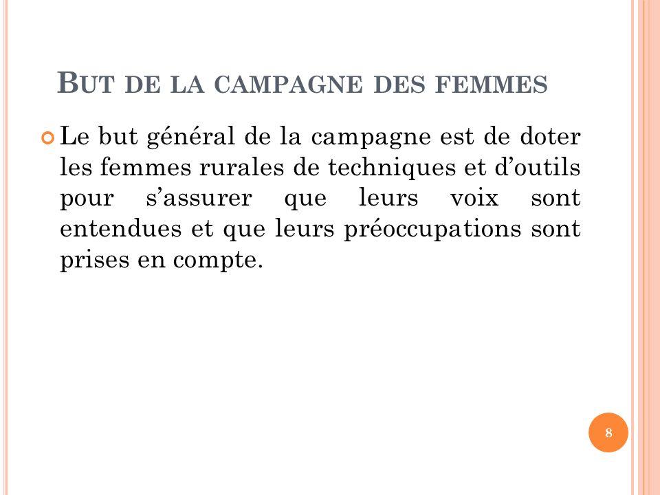 O BJECTIFS GÉNÉRAUX DE LA CAMPAGNE FÉMININE Objectif 1: renforcer les capacités organisationnelles et individuelles des Associations Féminines rurales et de leurs leaders qui ont été sélectionnées.