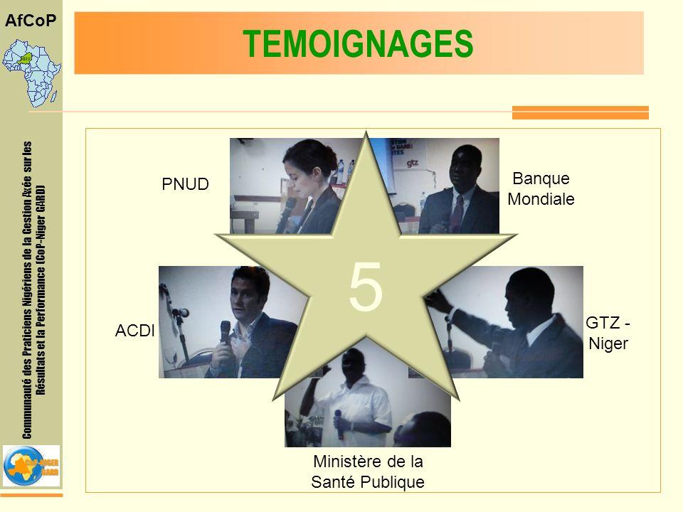 Communauté des Praticiens Nigériens de la Gestion Axée sur les Résultats et la Performance (CoP-Niger GARD) AfCoP TEMOIGNAGES 5 Banque Mondiale PNUD ACDI GTZ - Niger Ministère de la Santé Publique