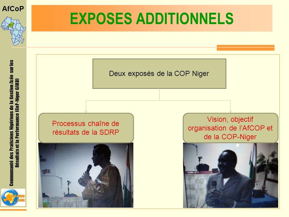 Communauté des Praticiens Nigériens de la Gestion Axée sur les Résultats et la Performance (CoP-Niger GARD) AfCoP EXPOSES ADDITIONNELS Deux exposés de