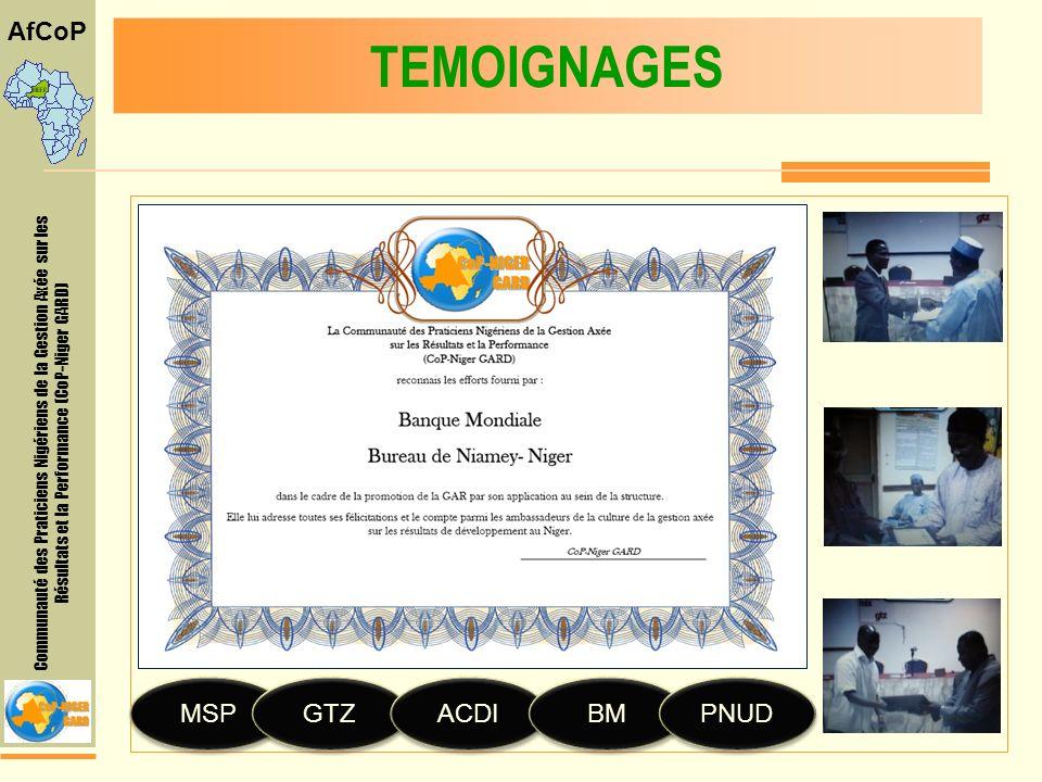 Communauté des Praticiens Nigériens de la Gestion Axée sur les Résultats et la Performance (CoP-Niger GARD) AfCoP TEMOIGNAGES MSP MSP GTZ GTZ ACDI ACDI BM BM PNUD PNUD