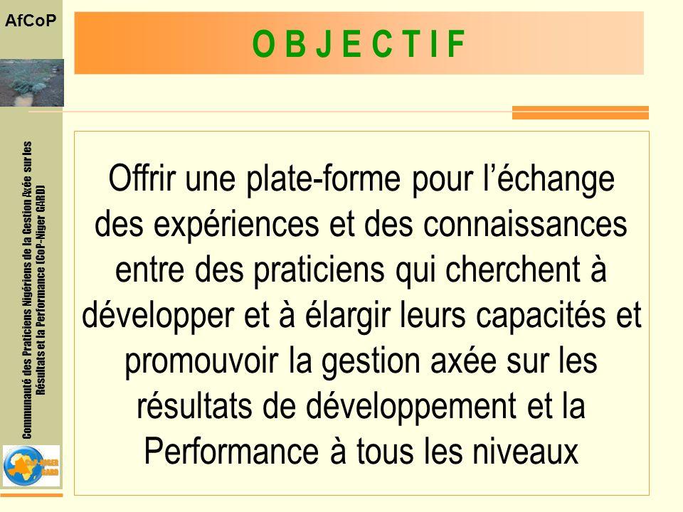 Communauté des Praticiens Nigériens de la Gestion Axée sur les Résultats et la Performance (CoP-Niger GARD) AfCoP Offrir une plate-forme pour léchange