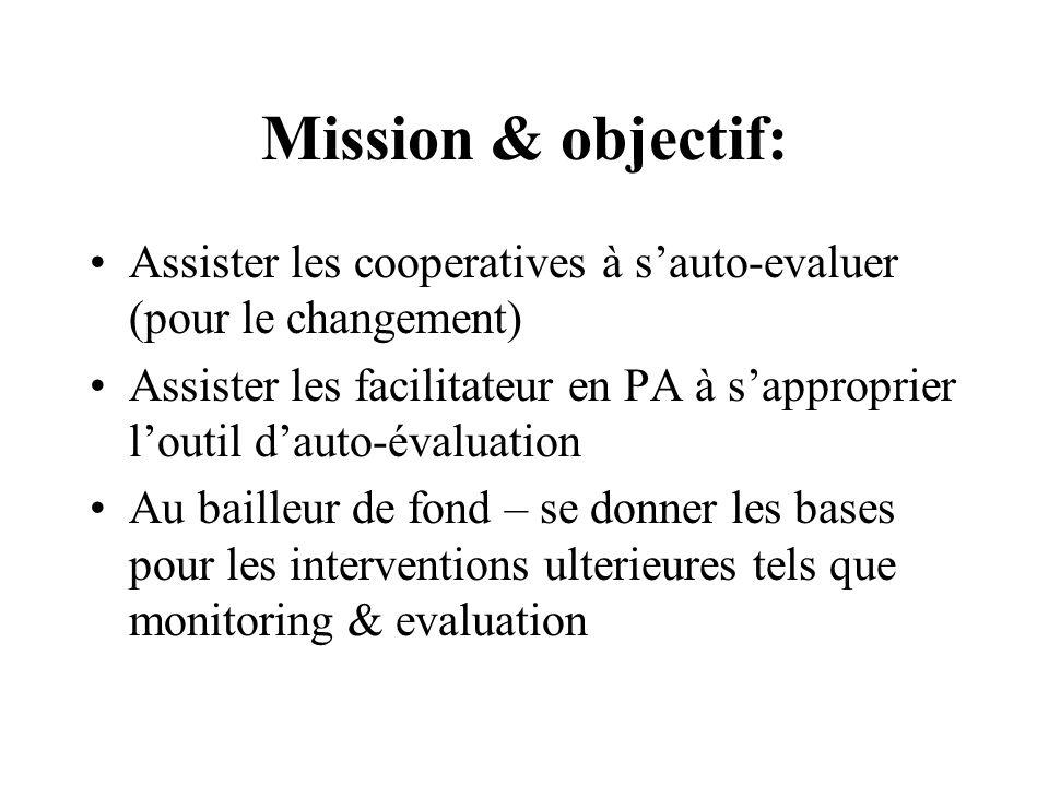Mission & objectif: Assister les cooperatives à sauto-evaluer (pour le changement) Assister les facilitateur en PA à sapproprier loutil dauto-évaluation Au bailleur de fond – se donner les bases pour les interventions ulterieures tels que monitoring & evaluation